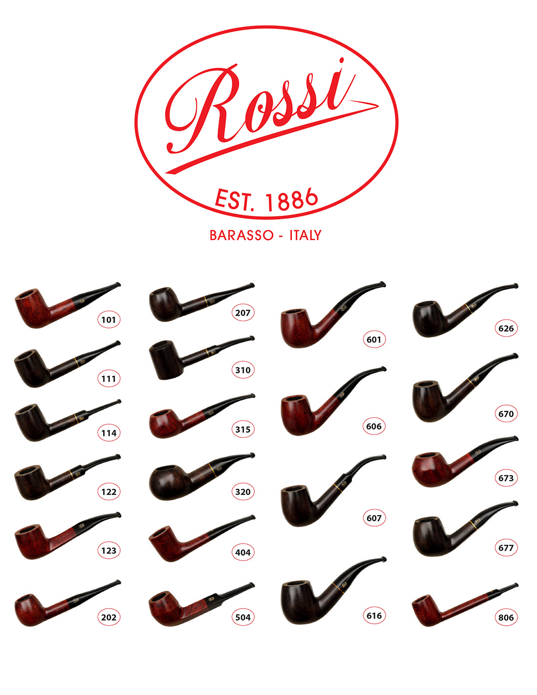 Rossi Pipe Shape Chart